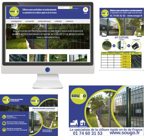 Site Internet et communication imprimée<br>Aménagement de jardins et locaux