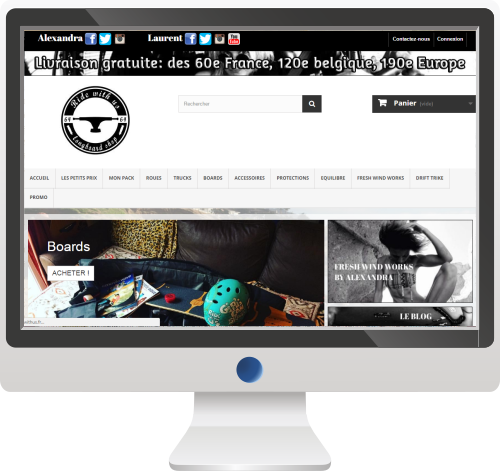 Vente de Longboards<br>Site E-commerce